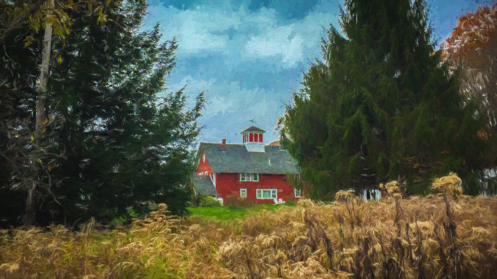view of red barn through field, Quechee, Varmont