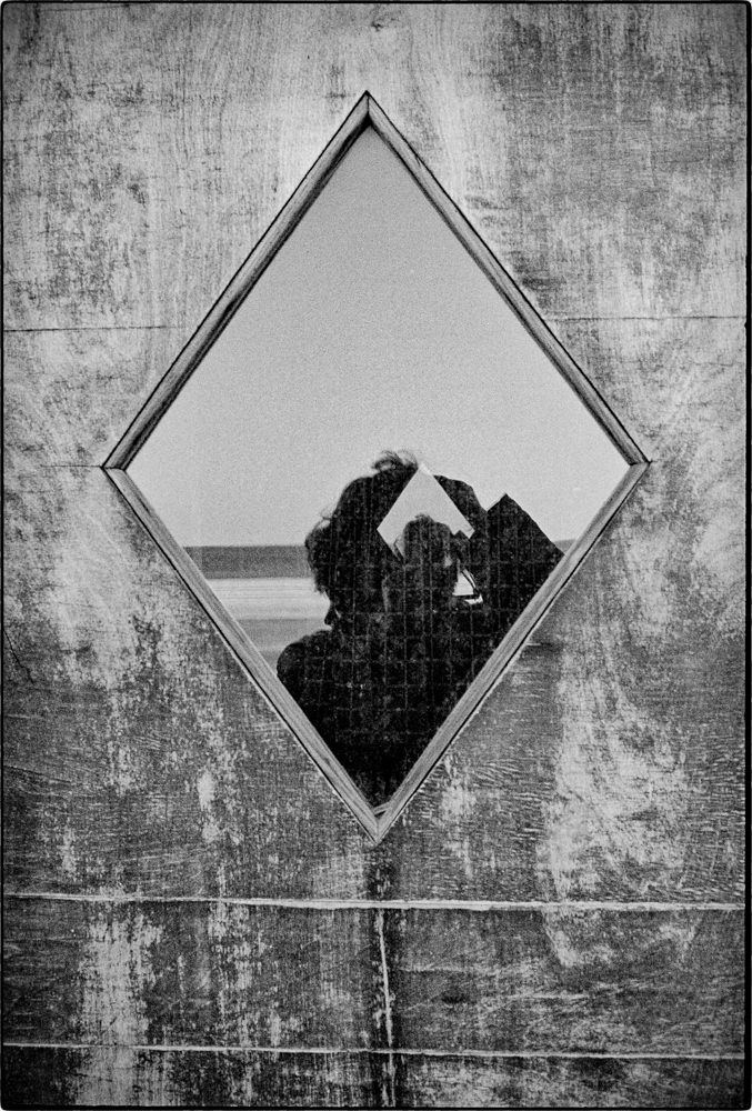 elf-portrait, window reflection, Revere Beach 1970