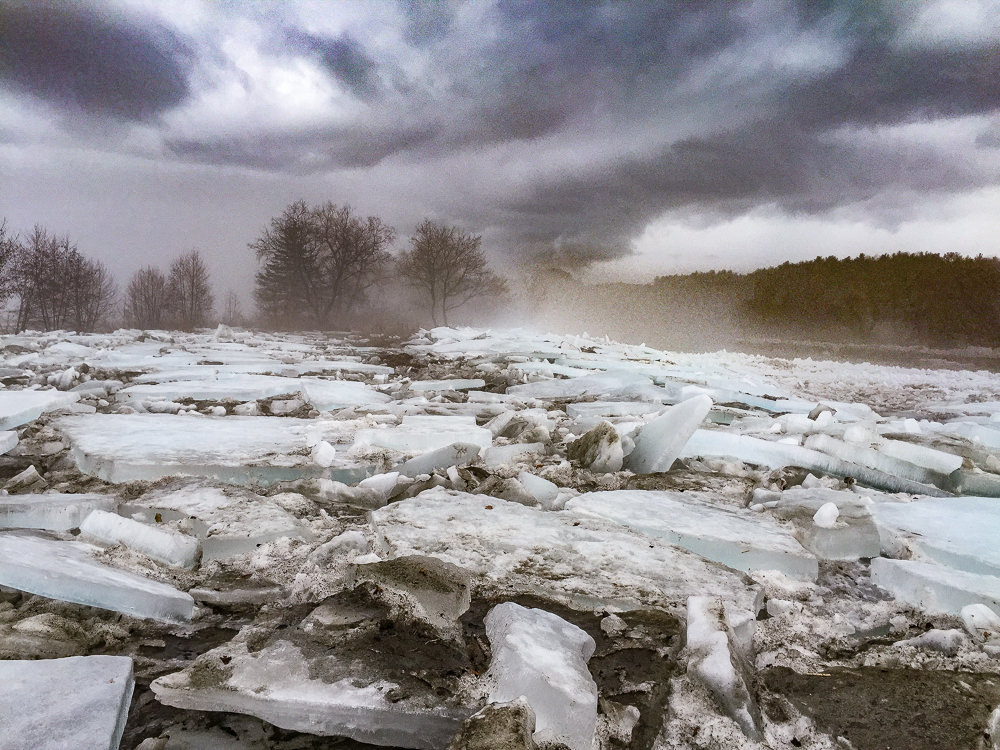 Early Spring Ice Jam, Ottauquechee RIver