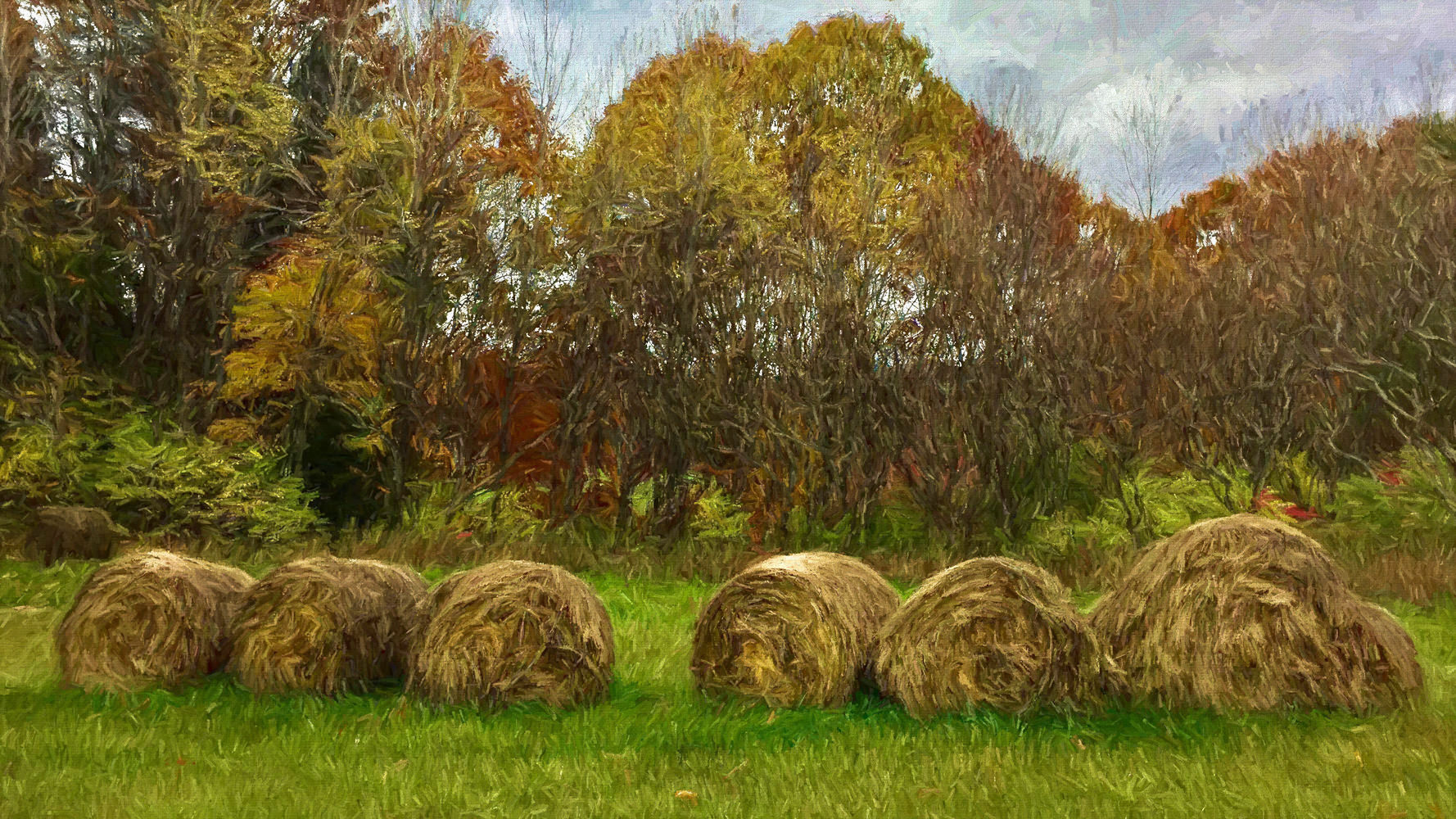 Hay bales, Quechee green belt field, Quechee, Vermont. Brush enhanced